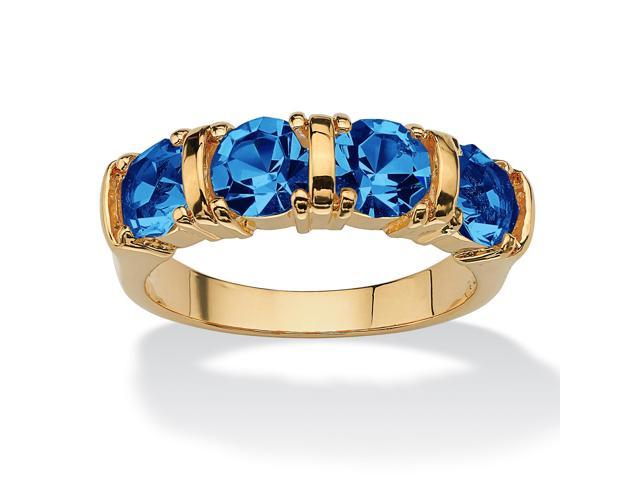 PalmBeach Jewelry Round Birthstone 18k Gold-Plated Bar-Set Ring- September- Simulated Sapphire