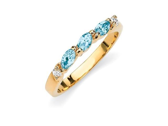 Marquise-Cut Birthstone with Cubic Zirconia 18k Gold-Plated Ring - December- Simulated Blue Topaz