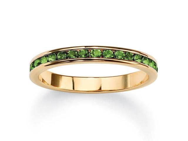 PalmBeach Jewelry Birthstone Stackable Eternity Band in 14k Gold-Plated - August- Simulated Peridot