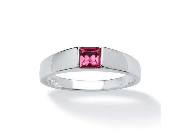 Princess-Cut Birthstone Stackable Ring in Sterling Silver - October- Simulated Tourmaline