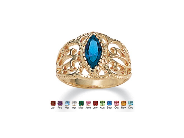 Marquise-Cut Birthstone Filigree Ring in 14k Gold-Plated Finish - September- Simulated Sapphire