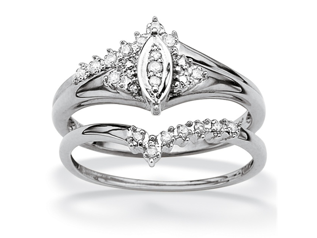 PalmBeach Jewelry 1/10 TCW Round Diamond 10k White Gold Marquise-Shaped Bridal Engagement Ring Set