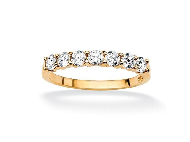 PalmBeach Jewelry .70 TCW Round Cubic Zirconia 10k Yellow Gold Anniversary Stack Band Ring