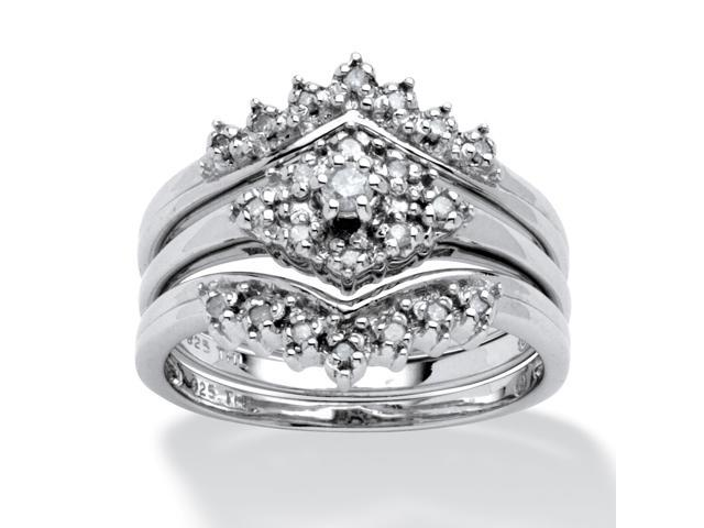PalmBeach Jewelry 1/4 TCW Round Diamond Three-Piece Bridal Set in Platinum over Sterling Silver
