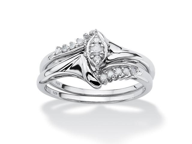 PalmBeach Jewelry 1/5 TCW Round Diamond Two-Piece Bridal Set in Platinum over .925 Sterling Silver