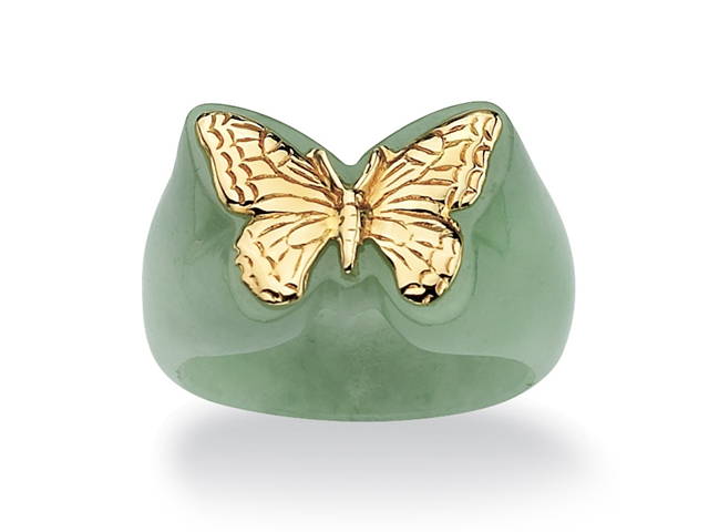 Genuine Green Jade 14k Yellow Gold Butterfly Ring-486449