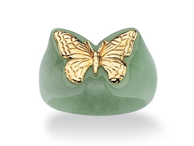 PalmBeach Jewelry Genuine Green Jade 14k Yellow Gold Butterfly Ring