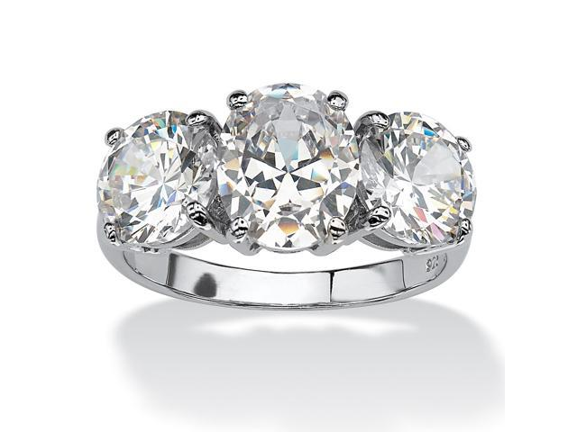 6.54 TCW Oval Cut Cubic Zirconia Platinum over Sterling Silver 3-Stone Bridal Engagement Ring