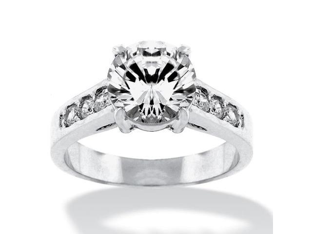 PalmBeach Jewelry 2.20 TCW Round Cubic Zirconia Silvertone Engagement Anniversary Ring