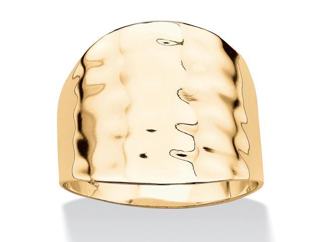 PalmBeach Jewelry 14k Yellow Gold-Plated Hammered Cigar Band Ring