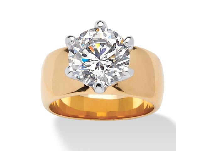 4 TCW Round Cubic Zirconia Solitaire Engagement Anniversary Ring in 14k Gold-Plated
