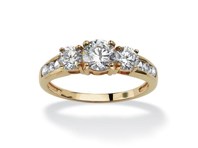 PalmBeach Jewelry 1.88 TCW Round Cubic Zirconia Engagement Anniversary Ring in 10k Gold