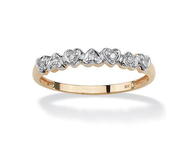 PalmBeach Jewelry Diamond Accent 10k Gold Multi-Heart Promise Band Ring