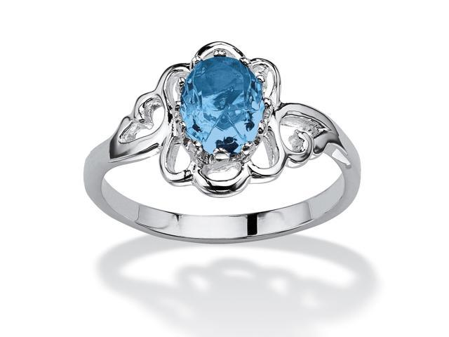 Oval-Cut Open Scrollwork Birthstone Ring in Sterling Silver - March- Simulated Aquamarine