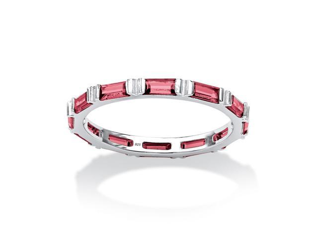 Baguette Birthstone Stackable Eternity Band in .925 Sterling Silver - October- Simulated Tourmaline