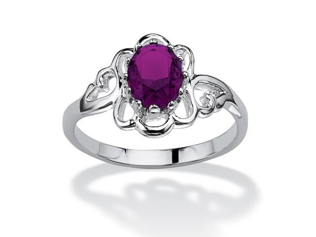 Oval-Cut Open Scrollwork Birthstone Ring in Sterling Silver - February- Simulated Amethyst