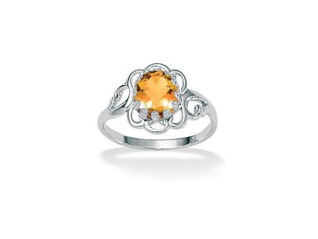 Oval-Cut Open Scrollwork Birthstone Ring in Sterling Silver- November- Simulated Citrine