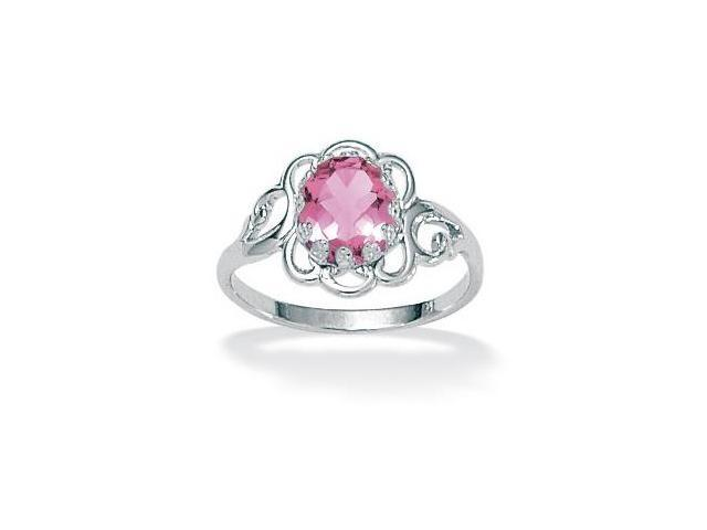 Oval-Cut Open Scrollwork Birthstone Ring in Sterling Silver - June- Simulated Alexandrite
