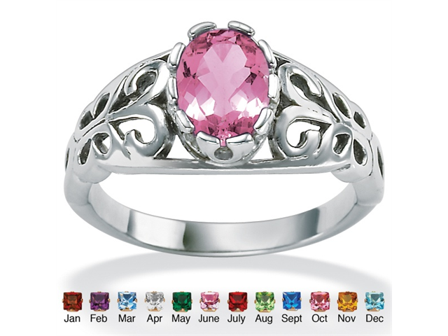 PalmBeach Jewelry Oval-Cut Birthstone Scroll Ring in Sterling Silver - June- Simulated Alexandrite