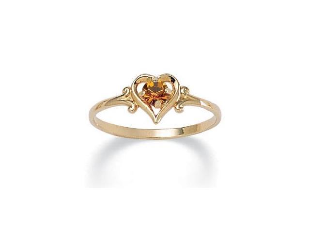 Oval-Cut Birthstone Heart-Shaped Ring in 14k Gold-Plated - November- Simulated Citrine