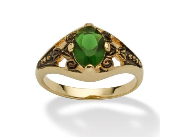 Oval-Cut Birthstone Filigree Ring in Antiqued 14k Gold-Plated - May- Simulated Emerald