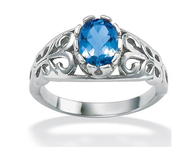 PalmBeach Jewelry Oval-Cut Birthstone Scroll Ring in Sterling Silver - September- Simulated Sapphire