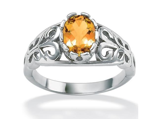 PalmBeach Jewelry Oval-Cut Birthstone Scroll Ring in Sterling Silver - November- Simulated Citrine