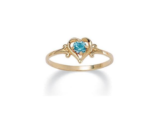 Oval-Cut Birthstone Heart-Shaped Ring in 14k Gold-Plated - December- Simulated Blue Topaz