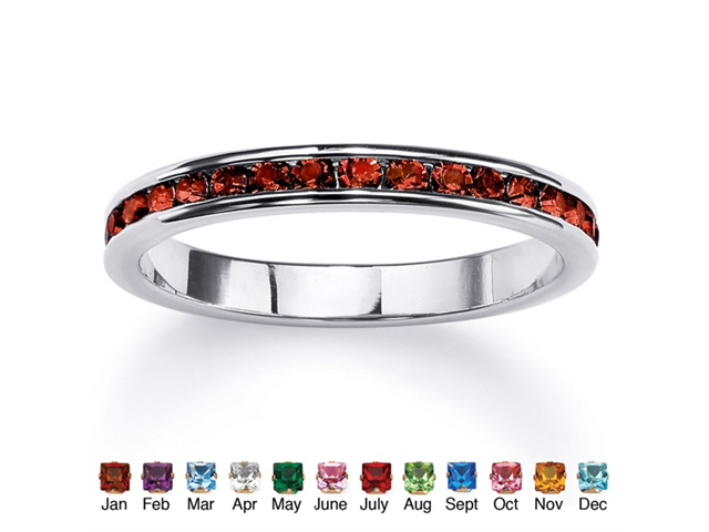 Round Birthstone Stackable Eternity Band in Sterling Silver - January- Simulated Garnet