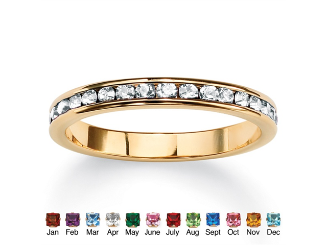PalmBeach Jewelry Birthstone Stackable Eternity Band in 14k Gold-Plated - April- Simulated Diamond