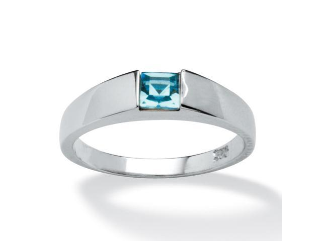 Princess-Cut Birthstone Stackable Ring in Sterling Silver - December- Simulated Blue Topaz