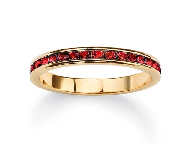 PalmBeach Jewelry Birthstone Stackable Eternity Band in 14k Gold-Plated - July- Simulated Ruby