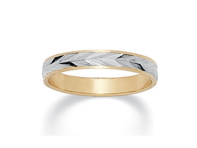 PalmBeach Jewelry Textured Wedding Ring in Two-Tone 14k Gold-Plated