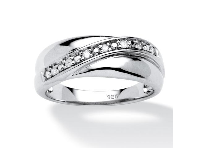 PalmBeach Jewelry Men's 1/10 TCW Round Diamond Wedding Band in Platinum over Sterling Silver