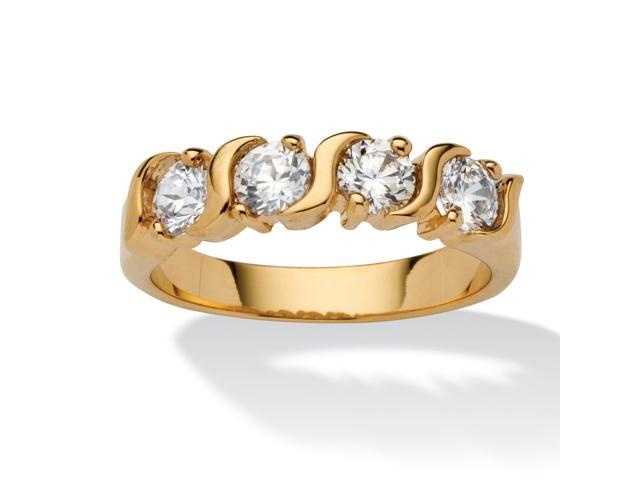 PalmBeach Jewelry 1 TCW Round White Cubic Zirconia Yellow 18k Gold-Plated S-Link Ring
