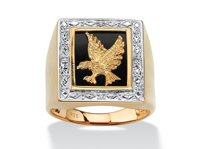 PalmBeach Jewelry Men's Onyx and Diamond Accent Eagle Ring in 14k Gold over Sterling Silver