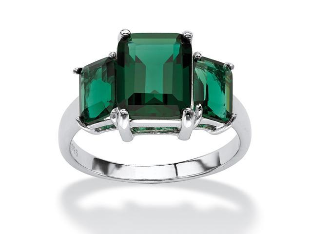 PalmBeach Jewelry Emerald-Cut Green Mount St. Helens-Inspired Crystal Ring in .925 Sterling Silver