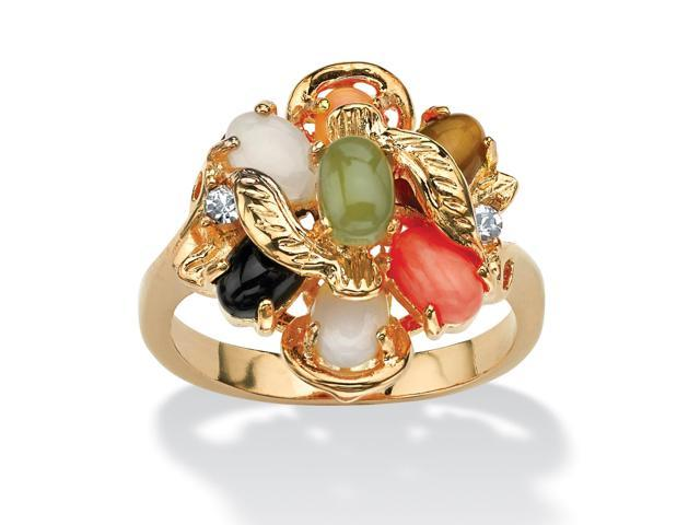 PalmBeach Jewelry Oval Genuine Coral, Opal, Jade, Onyx and Tiger's-Eye Cluster 14k Gold-Plated Ring