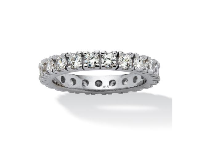 PalmBeach Jewelry 2 TCW Round Cubic Zirconia Eternity Band in Sterling Silver