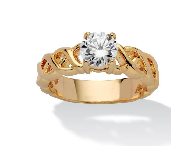 PalmBeach Jewelry 1.08 TCW Round Cubic Zirconia Solitaire Lattice Engagement Ring 14k Gold-Plated