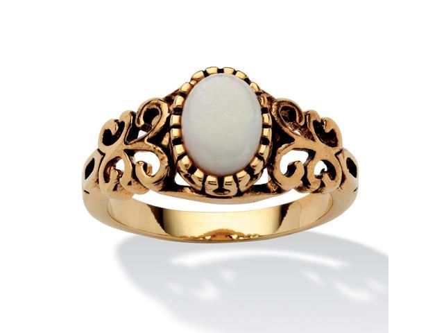 PalmBeach Jewelry Oval-Cut Opal Scroll Ring in Antiqued 14k Gold-Plated