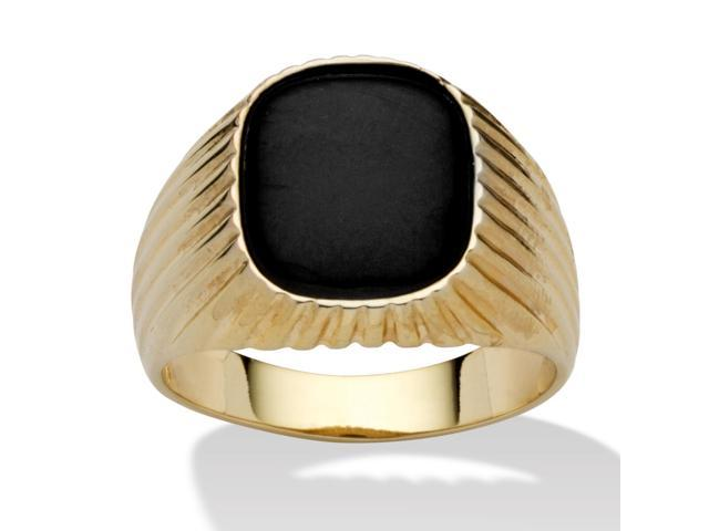 PalmBeach Jewelry Men's Genuine Onyx 14k Yellow Gold-Plated Ribbed Ring