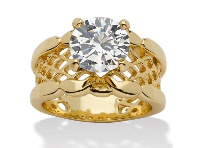 2 TCW Round Cubic Zirconia 14k Yellow Gold-Plated Solitaire Filigree Bridal Engagement Ring
