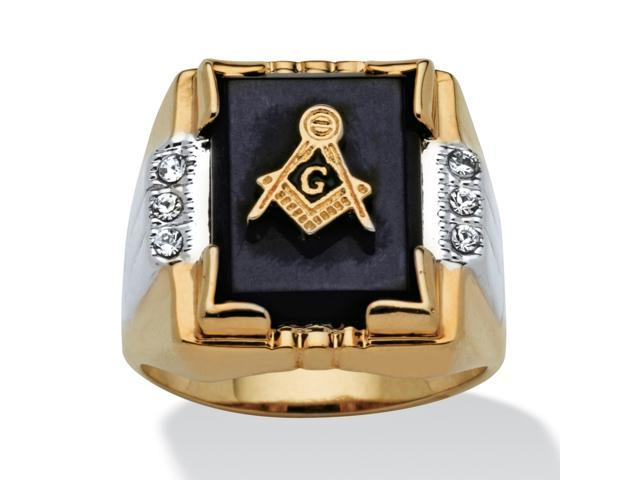 PalmBeach Jewelry Men's Genuine Onyx and Crystal Two-Tone Masonic Ring 14k Gold-Plated Sizes 8-16