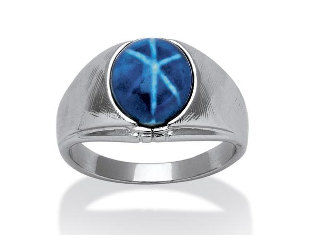 PalmBeach Jewelry Men's Oval Simulated Blue Star Sapphire Ring in Silvertone Sizes 8-16