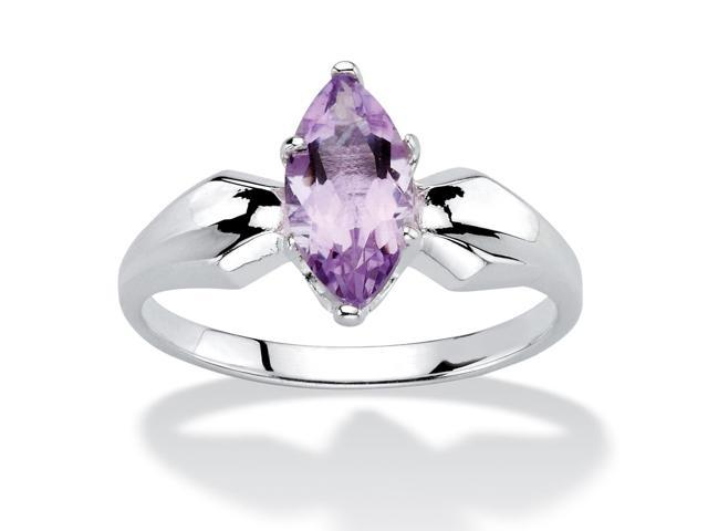 PalmBeach Jewelry 1/2 TCW Marquise-Cut Genuine Amethyst Sterling Silver Classic Ring