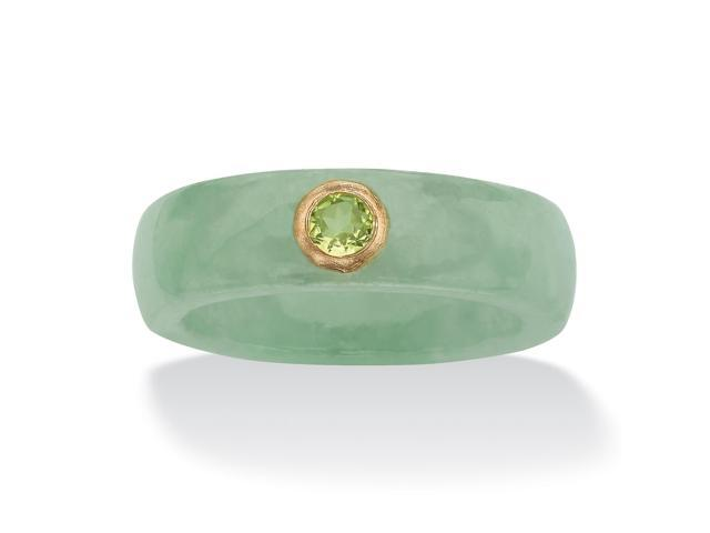 PalmBeach Jewelry .26 TCW Round Genuine Peridot and Green Jade Ring in 10k Yellow Gold