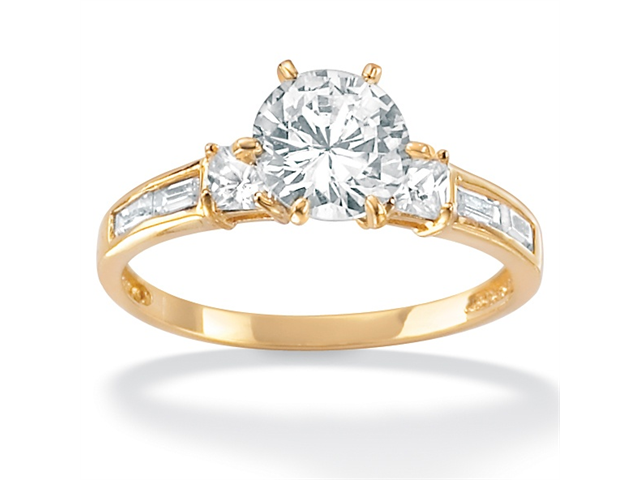 PalmBeach Jewelry 2.14 TCW Round Cubic Zirconia Engagement Anniversary Ring in 10k Gold