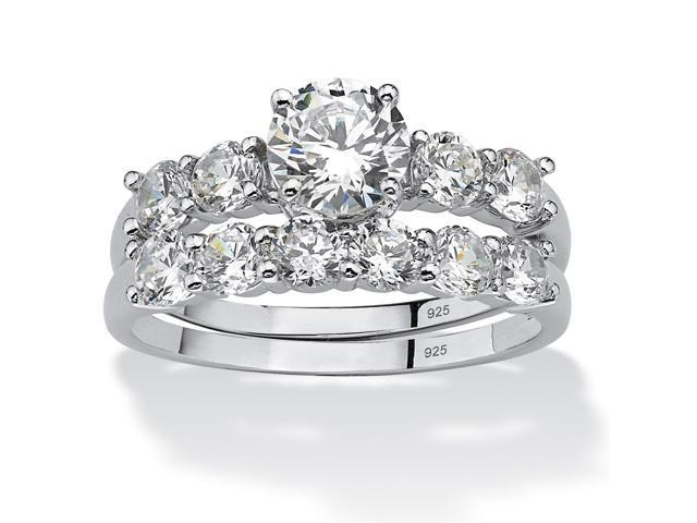 2.50 TCW Round Cubic Zirconia Platinum over Sterling Silver Bridal Engagement Ring Wedding Band Set