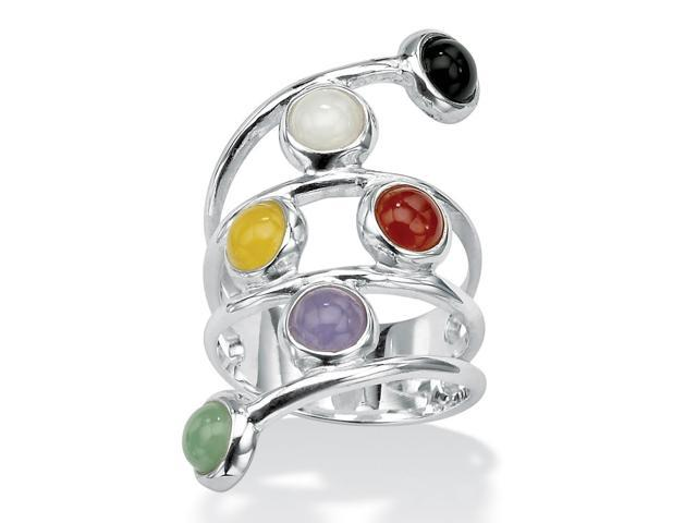 PalmBeach Jewelry Round Multicolor Genuine Jade Bezel-Set .925 Sterling Silver Wrap Ring